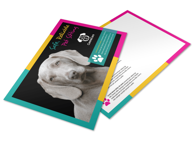 Reliable Pet Sitting Postcard Template Preview 1
