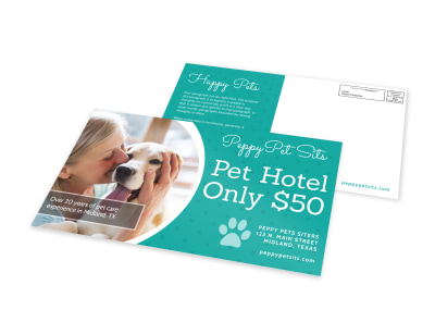 Pet Sitting Hotel EDDM Postcard Template preview