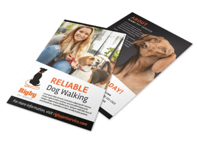 Happy Dog Walking Flyer Template preview