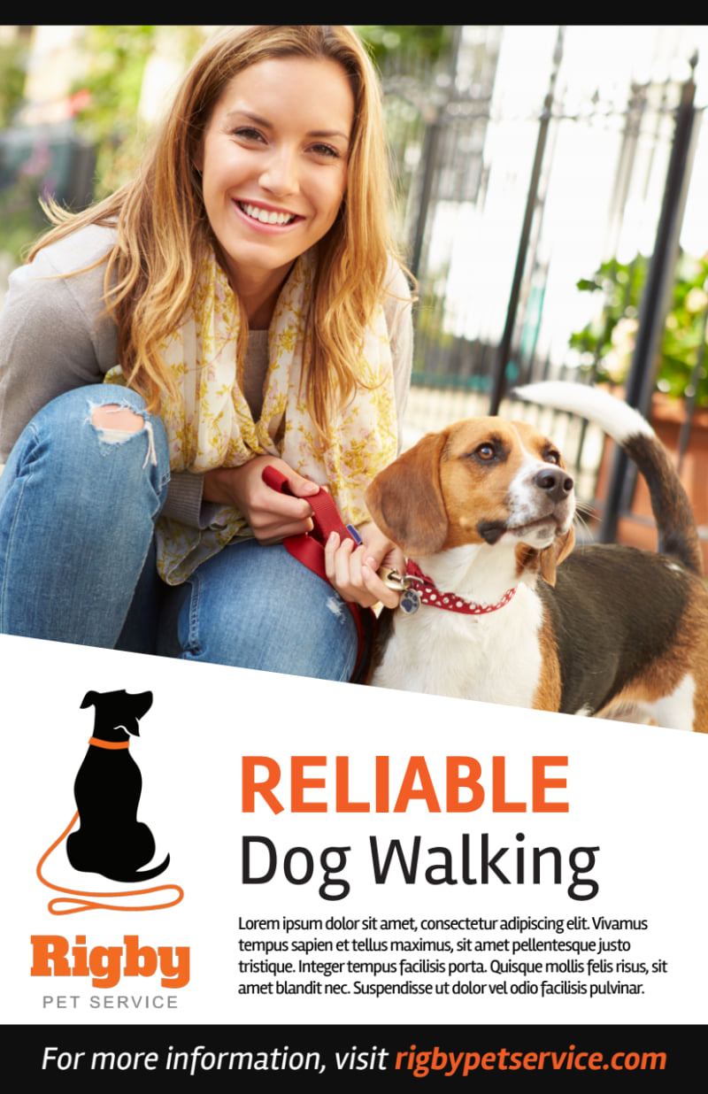 Happy Dog Walking Flyer Template Preview 2