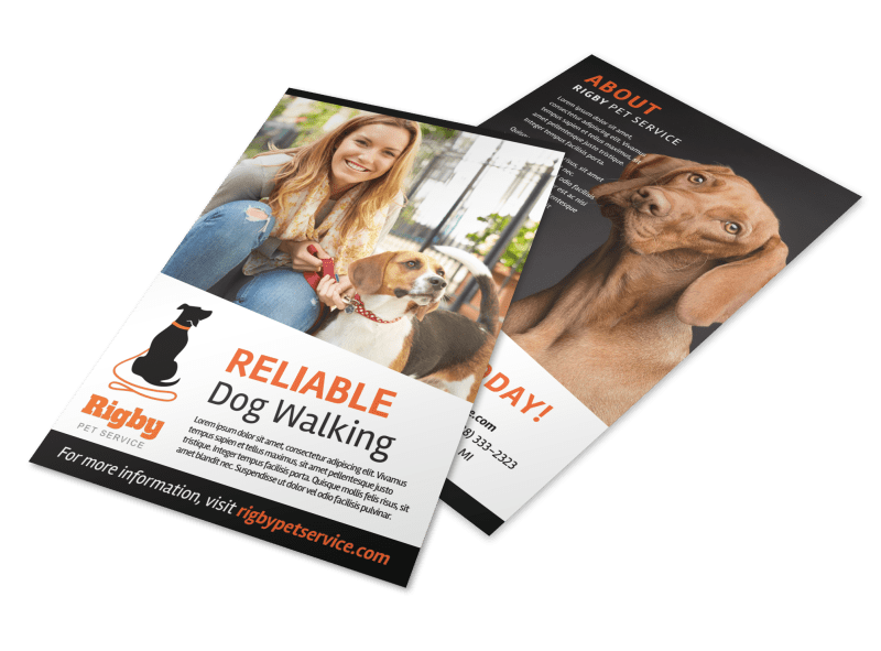 Happy Dog Walking Flyer Template Preview 1