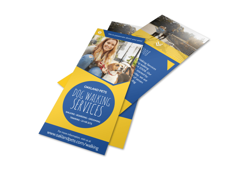 Blue & Yellow Dog Walking Flyer Template Preview 1