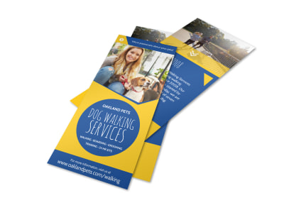 Blue & Yellow Dog Walking Flyer Template preview