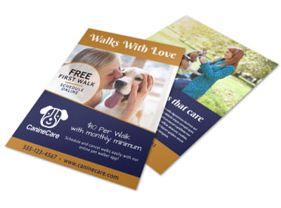 Dog Walking Promo Flyer Template preview