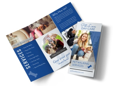Loving Dog Walking Tri-Fold Brochure Template preview