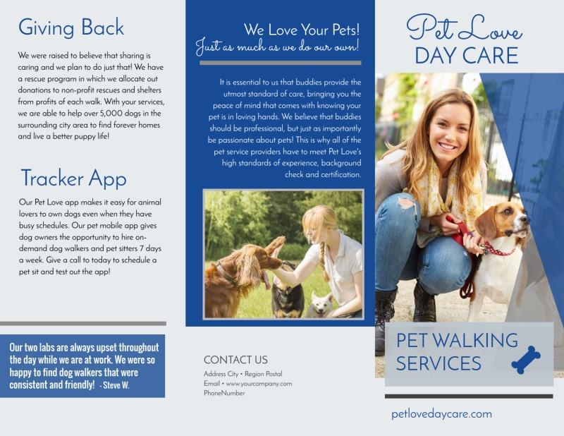 Loving Dog Walking Tri-Fold Brochure Template Preview 2