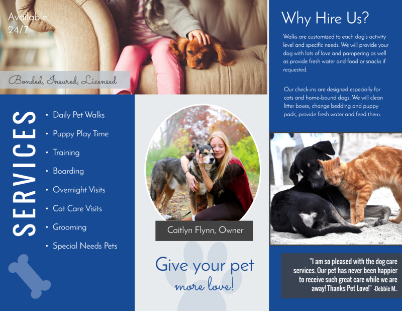 Loving Dog Walking Tri-Fold Brochure Template Preview 3