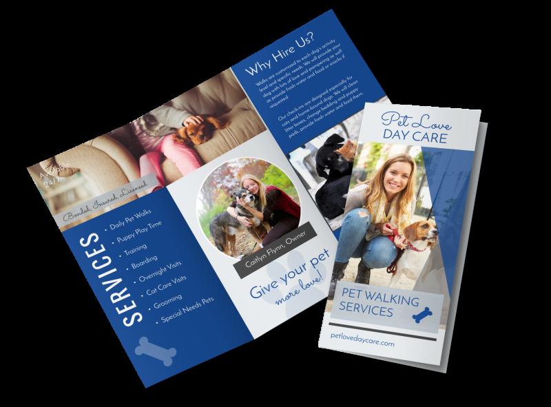 Loving Dog Walking Tri-Fold Brochure Template Preview 1
