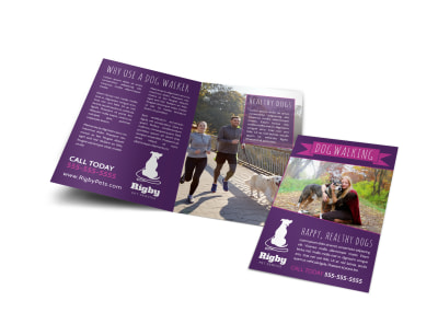 Purple Dog Walking Bi-Fold Brochure Template
