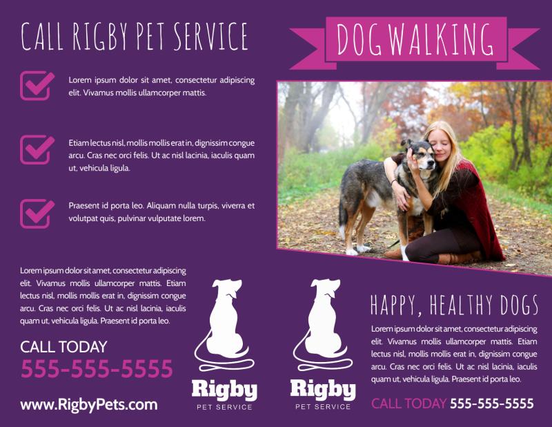 Purple Dog Walking Bi-Fold Brochure Template Preview 2