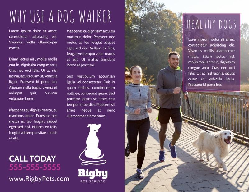 Purple Dog Walking Bi-Fold Brochure Template Preview 3