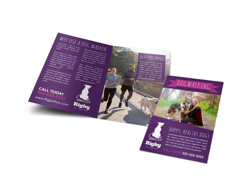 Purple Dog Walking Bi-Fold Brochure Template Preview 1