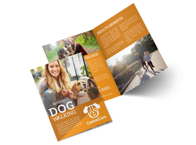 Reliable Dog Walking Bi-Fold Brochure Template preview