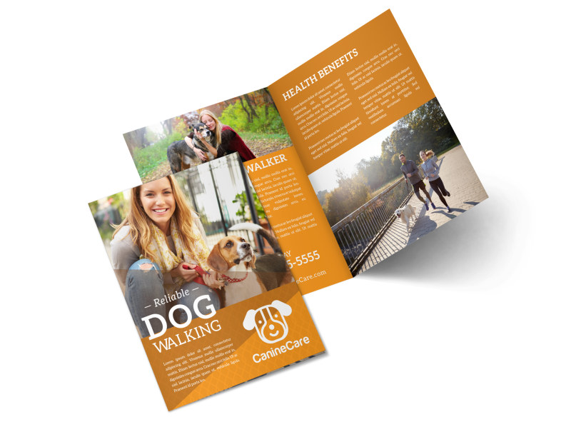 Reliable Dog Walking Bi-Fold Brochure Template