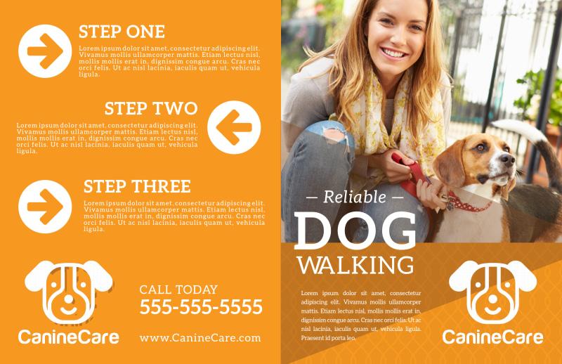 Reliable Dog Walking Bi-Fold Brochure Template Preview 2