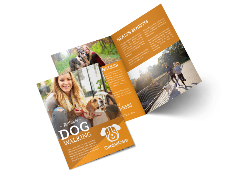 Reliable Dog Walking Bi-Fold Brochure Template Preview 1