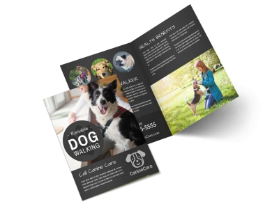 Friendly Dog Walking Bi-Fold Brochure Template preview