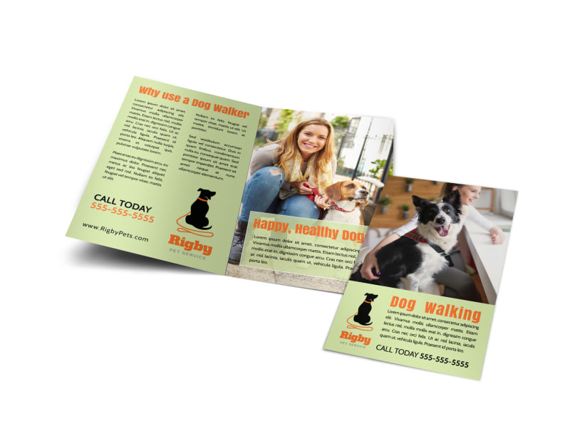 green dog walking bi fold brochure template mycreativeshop