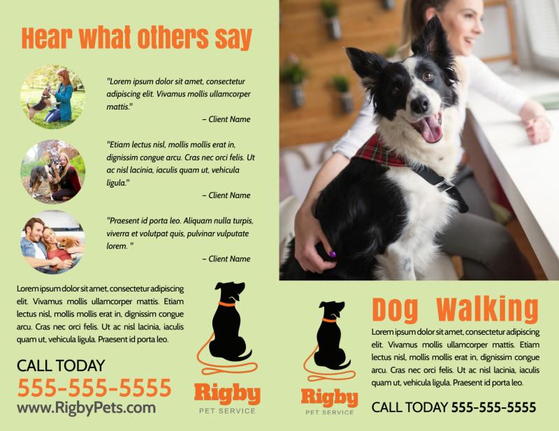 Green Dog Walking Bi-Fold Brochure Template Preview 2