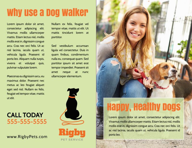 Green Dog Walking Bi-Fold Brochure Template Preview 3