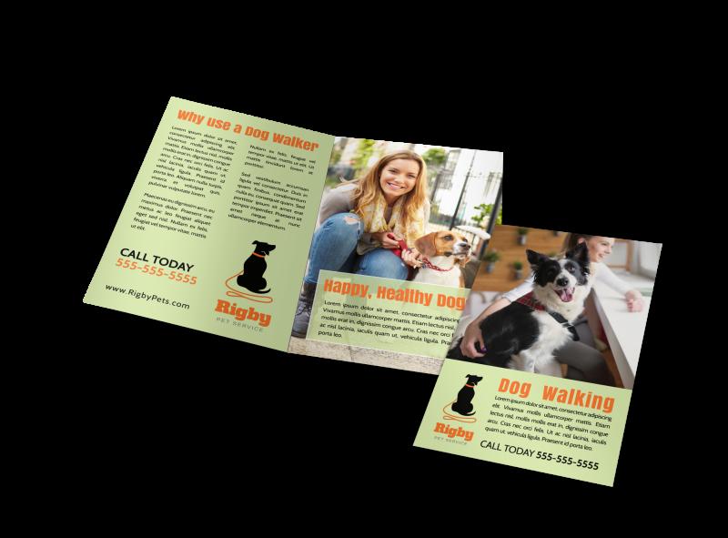 Green Dog Walking Bi-Fold Brochure Template Preview 1