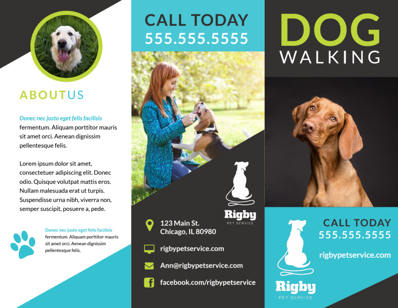 Beautiful Dog Walking Tri-Fold Brochure Template Preview 2
