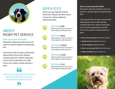 Beautiful Dog Walking Tri-Fold Brochure Template Preview 2