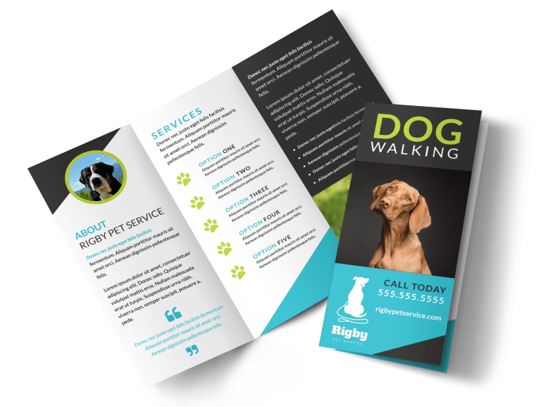 Beautiful Dog Walking Tri-Fold Brochure Template Preview 1