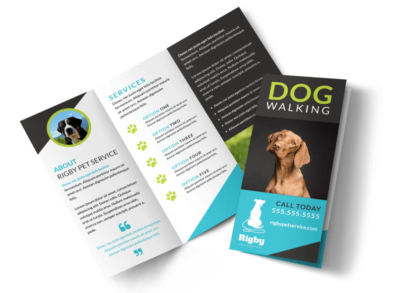 Beautiful Dog Walking Tri-Fold Brochure Template Preview 4