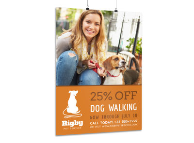 Promotional Dog Walking Poster Template preview