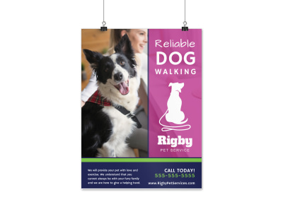 Reliable Dog Walking Poster Template preview