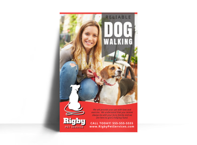 Red Dog Walking Poster Template preview