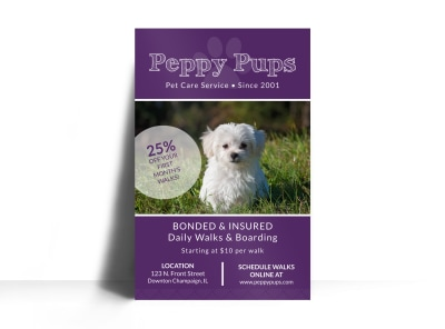 Purple Dog Walking Poster Template preview