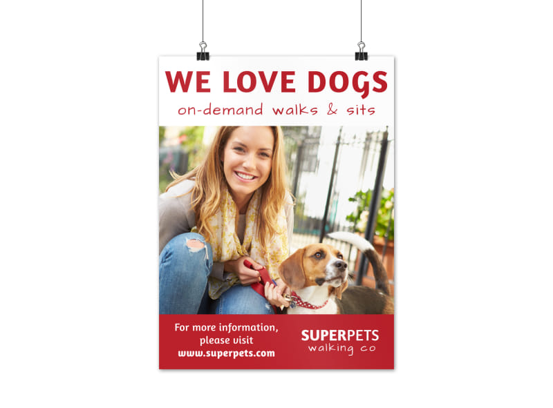 On-Demand Dog Walking Poster Template