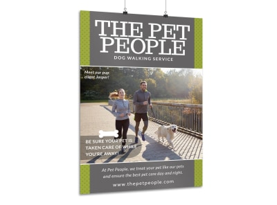 Pet People Dog Walking Poster Template preview