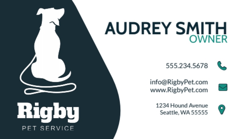Simple Dog Walking Business Card Template Preview 2