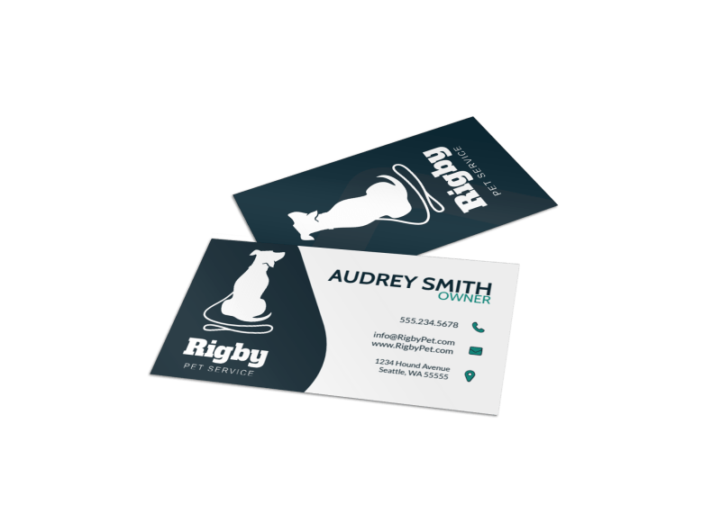 Simple Dog Walking Business Card Template Preview 1