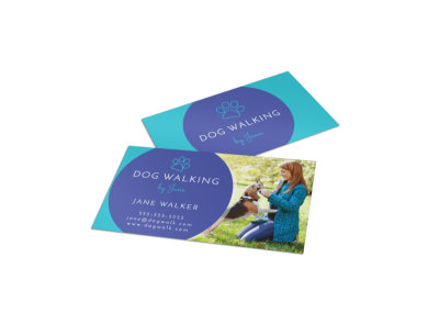 Beautiful Dog Walking Business Card Template preview