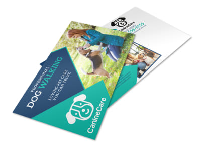 Professional Dog Walking Service Postcard Template preview