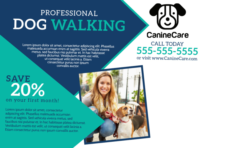 Professional Dog Walking Service Postcard Template Preview 3