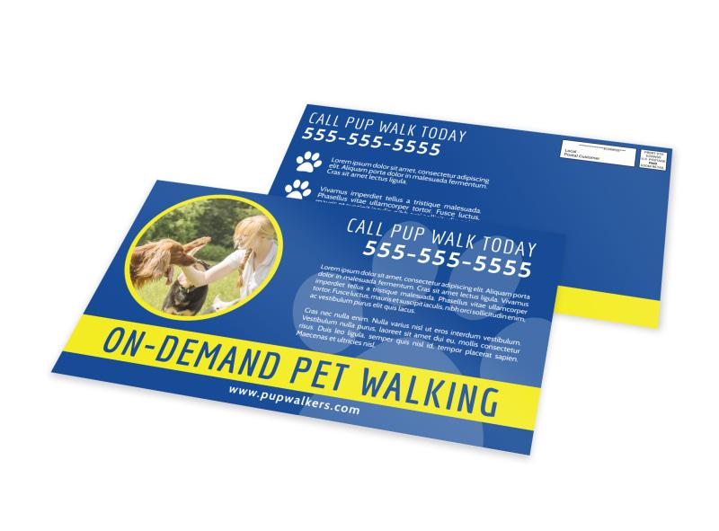 On-Demand Dog Walking EDDM Postcard Template