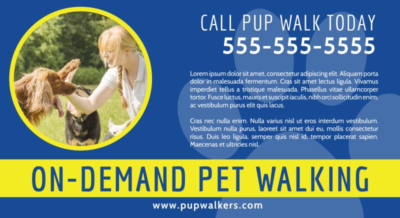 On-Demand Dog Walking EDDM Postcard Template Preview 2