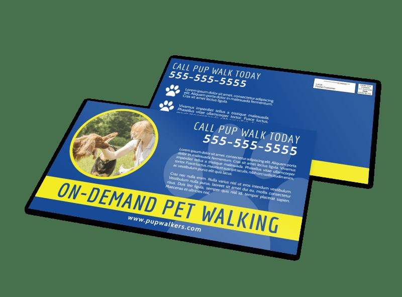 On-Demand Dog Walking EDDM Postcard Template Preview 1
