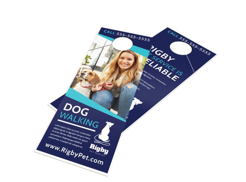 Happy Dog Walking Door Hanger Template