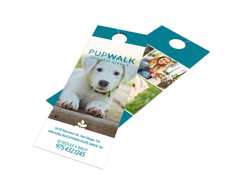 Pupwalk Dog Walking Door Hanger Template Preview 4