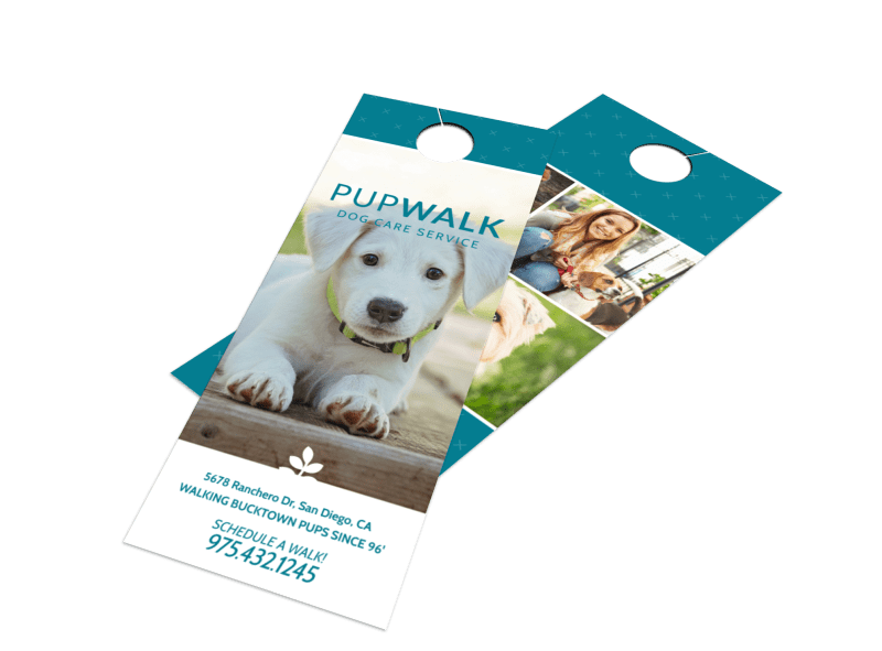 Pupwalk Dog Walking Door Hanger Template Preview 1