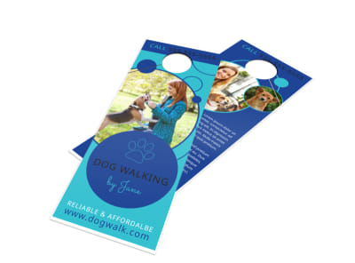 Fun Dog Walking Door Hanger Template
