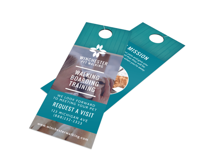Elite Dog Walking Door Hanger Template Preview 1