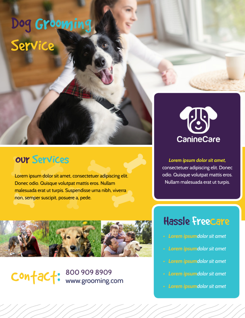 Dog Grooming Service Flyer Template Preview 2