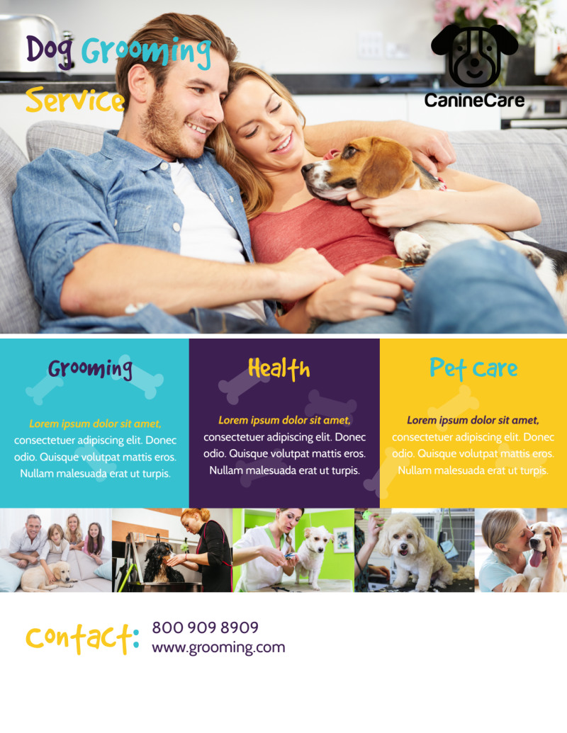 Dog Grooming Service Flyer Template Preview 3